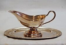 Old Vintage Silverplate Gravy Boat Sauce Bowl w Oval Underplate Unknown Maker
