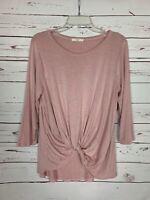 Le Lis Stitch Fix Women's M Medium Pink Linen Blend 3/4 Sleeve Spring Top Blouse