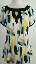 Essentials By Milano Womens Blouse Short Sleeves Key Neckline Crinkle Size L
