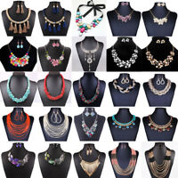Fashion Crystal Rhinestone Statement Bib Chain Choker Pendant Necklace Jewelry