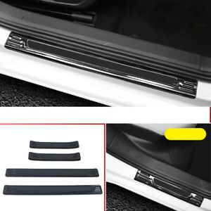 For VW Golf Mk8 2021 Black Outer Door Sill Cover Threshold Bar Protector 4PCS