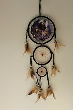 DREAMCATCHER WITH A PICTURE OF AN INDIAN LADY AND WOLVES WOLF 3 RINGS (KIN122)