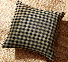 BLACK CHECK FABRIC 16x16 PILLOW : COUNTRY RUSTIC PRIMITIVE TAN ACCENT CUSHION