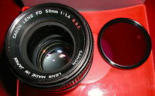 Canon FD 50mm f/1.4 S.S.C., Mint Glass/Ex+, Cap, Film/Digital, Free Shipping USA