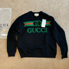 NEW-GUCCI Men's Black Sweatshirt with Gucci Logo Embroidered Size L