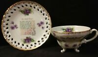 Vintage Porcelain Lord's Prayer Footed Cup & Saucer Reticulated Edge Unmarked
