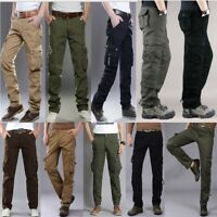 Mens Casual Cotton Cargo Military Pocket Combat Camo Work Trousers Long Pants