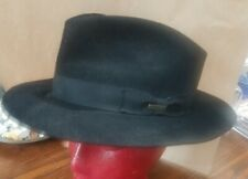Vintage Royal Stetson Chatham Fedora Black Felt Hat. Size Oval 7 1/2. Clean!