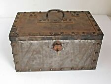 Antique Hand Wrought & Cast Iron Strong  Box with Yale Lock