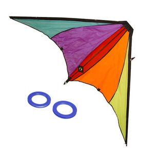 Aquilone per bambini colorato triangolo pilotabile 2 maniglie custodia 160x80 cm