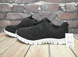 Womens Black Beaded Toggle Fastening Trainers UK 4 EEE Extra Wide RRP - £26.99