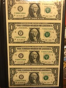 World Reserve Monetary Exchange 2009 (4) $1 Bills Uncirculated & Uncut