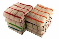 12 x EXTRA LARGE JUMBO TERRY BIG CHECK 100% COTTON TEA TOWEL KITCHEN DISH CLOTH