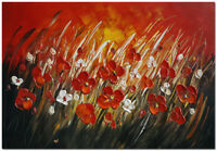 Wall Art Hand Painted Modern Impressionist Flower Painting on Canvas 24x16""