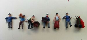 6 Painted Preiser Figures HO 1/87 Scale Delivery Men With Loads