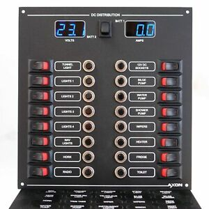 16 Way Mini-Switch Circuit Breaker Panel with Digital Volt and ammeter