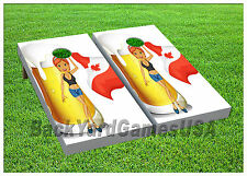 VINYL WRAPS Cornhole Boards DECALS Canada Beer Lady  Bag Toss Game Stickers 286