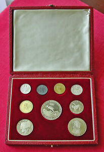 1964 Austrian Olympic proof set in case-9 coins incl Olympics ski jumper