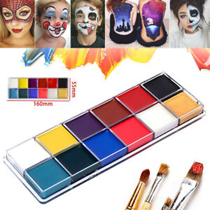 12 Colors Face Body Paint Oil Painting Art Make Up Tool  Halloween Party Kit