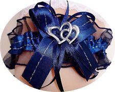 satin jarretière bleu /bleu nuit avec 2 coeurs satin bleu foncé ruban mariée