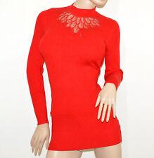 MAGLIONE rosso donna maxi pull maglietta manica lunga velato strass sweater G9