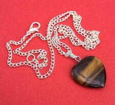 NEW! Tigers Eye Gemstone Heart Pendant Necklace Women's Teens - Aussie Seller!!!