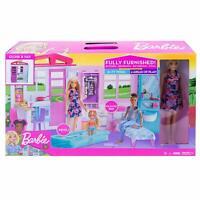 Barbie Casa Portátil con Piscina Casa de Muñecas con Muñeca Barbie Incluida NEW