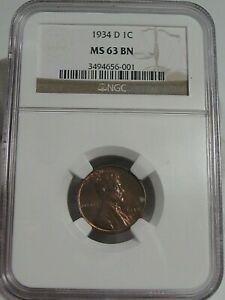 BU BROWN 1934-d Lincoln Wheat Penny NGC MS63 BN.  #34