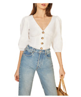 NEW Reformation Anton Balloon Sleeve Linen Top In White - Size 12 #T1122