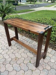 Handcrafted Wood Coffee Bar Table - Cedar and salvaged steel -FREE SHIPPING