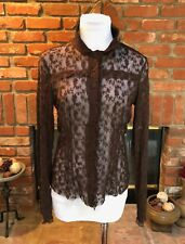 ECI New York sz 8 Brown Sheer Lace See Through High Victorian Neck Dressy Shirt