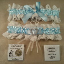 Wedding Garter plus Lucky Sixpence For Bride's Shoe - Something Blue