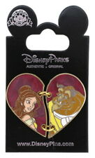 2016 Disney Beauty and The Beast Two Piece Heart Pin With Packing Only