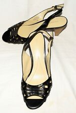 Easy Spirit SHANICET Black Leather Open Toe Womens Slingback Heels Sz 7.5 Wide