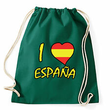 Art T-shirt, Zaino I Love Spagna, Verde, Sacca Gym