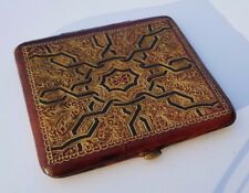 VINTAGE GOLD EMBOSSED LEATHER PURSE - HINGED WITH METAL FRAME