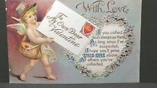 To My Valentine With Love To My Own Vintage Post Card Cupid mailman Unused 208