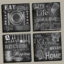 "NEW Set of 4 Stretched Canvas Kitchen Chalkboard 12x12"" Eat Home Heart Spice"