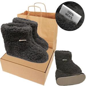 Women's Mens 100% Sheep Wool CHARCOAL Sheepskin Boot Slippers Durable Sole & BOX