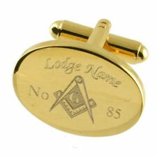 Freemason Cuff Links Engraved Masonic Lodge Name & Number Select Gift Pouch