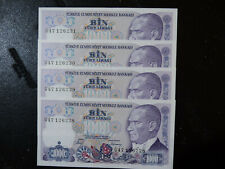 More details for turkish 1000 lira bank notes.(4) purple & blue. consecutive numbers.kr.196