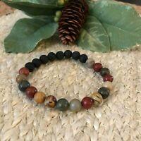 Jasper Gemstones Black Lava Rock Beaded Bracelet Essential Oil Diffuser Jewelry