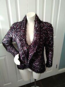 Women's Roman Wrap/Cardigan, Navy/purple Bubble Fleck, Size 16