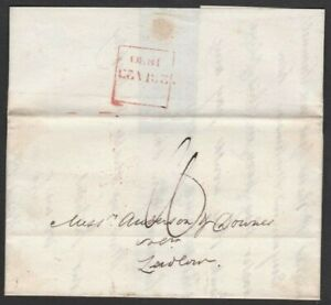 """1830 ENTIRE LETTER LONDON TO LUDLOW + FINE BOXED """"LATE FEE"""" HANDSTAMP IN RED"""