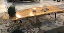 Live Edge Coffee Table Natural Olive Wood Slab Custom True Vintage Hairpin Legs
