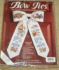 """Bless This Home"" Bird, Birdhouses & Flowers Bow Tie Cross Stitch Kit 11x17"""