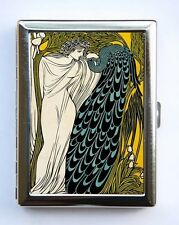 Art Nouveau Women & Peacock Cigarette Case Wallet Business Card Holder
