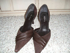 *Sexy* ALDO Dressy Suede Leather Open Side High Heels~Brown~Size Eur 37 US 6.5