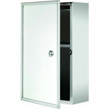 Croydex Lockable Medicine Cabinet Stainless Steel Mirrored Glass Door WC846005