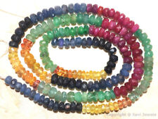"""Multi SAPPHIRE RUBY EMERALD 3.5-4.5mm Faceted Rondelle Beads 8.5"""" Str 34 Ctw A++"""